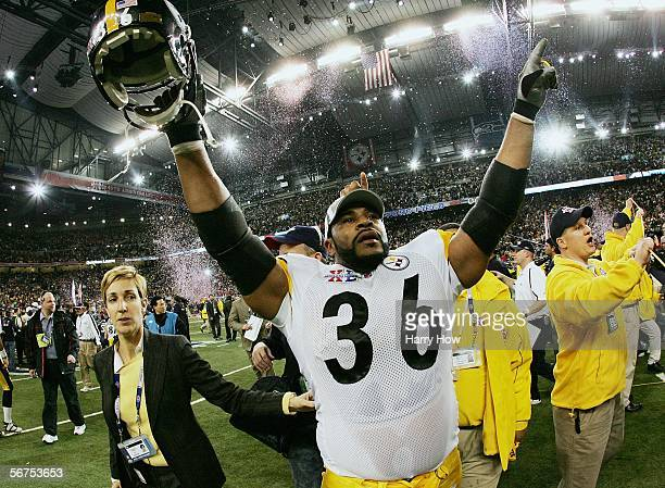 Running back Jerome Bettis of the Pittsburgh Steelers celebrates on the field after defeating the Seattle Seahawks in Super Bowl XL at Ford Field on...