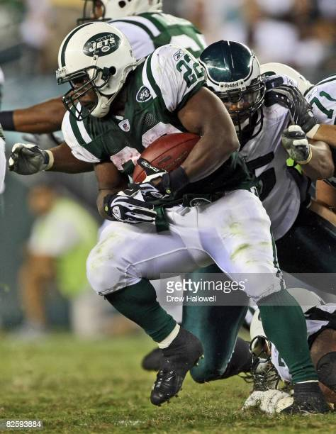 Running back Jesse Chatman of the New York Jets runs with the ball during the game against the Philadelphia Eagles on August 28, 2008 at Lincoln...