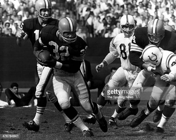 Running Back Jim Brown of the Cleveland Browns against the Baltimore Colts circa 1959 at in Baltimore Maryland Brown played for the Browns from 195765