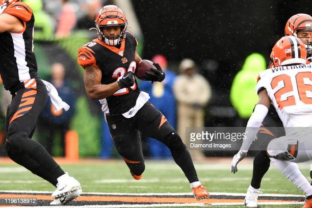 Running back Joe Mixon of the Cincinnati Bengals carries the ball in the second quarter of a game against the Cleveland Browns on December 29, 2019...