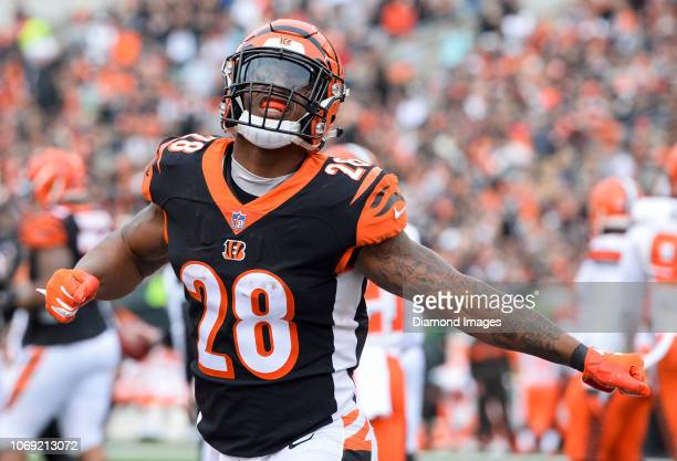 Running back Joe Mixon of the Cincinnati Bengals celebrates after a receiving touchdown by wide receiver John Ross in the second quarter of a game...