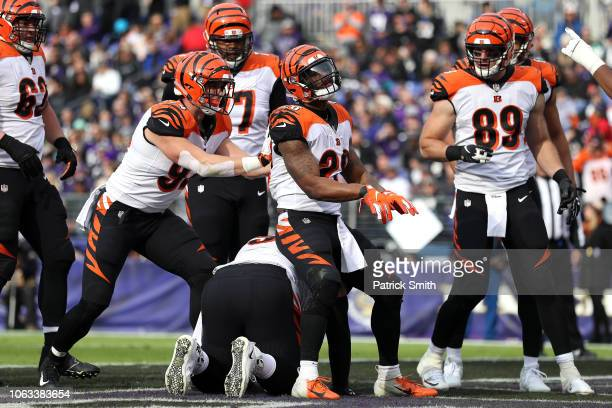 Running Back Joe Mixon of the Cincinnati Bengals celebrates with teammates after a touchdown in the second quarter against the Baltimore Ravens at...