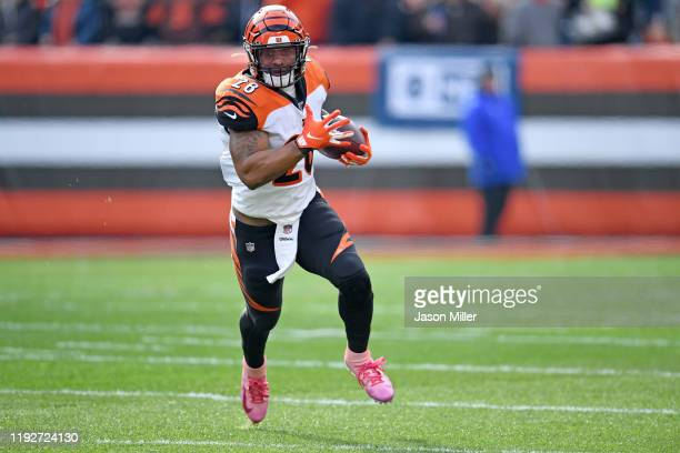 Running back Joe Mixon of the Cincinnati Bengals runs for a gain during the first half against the Cleveland Browns at FirstEnergy Stadium on...