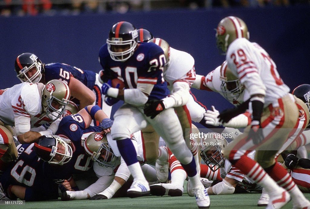 Running back Joe Morris of the New York Giants carries the ball against the San Francisco 49ers during the NFC Divisional Playoff Game January 4 1987...