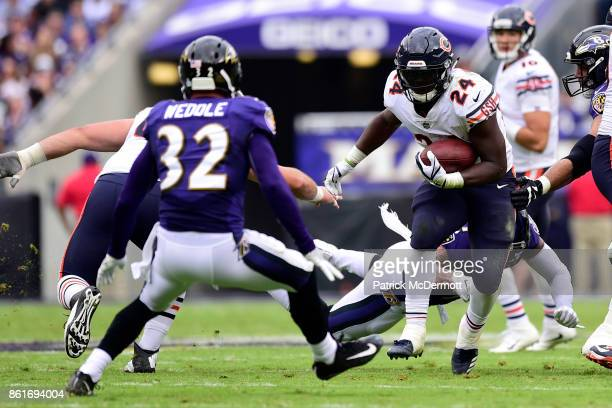 Running Back Jordan Howard of the Chicago Bears carries the ball in the third quarter against the Baltimore Ravens at MT Bank Stadium on October 15...