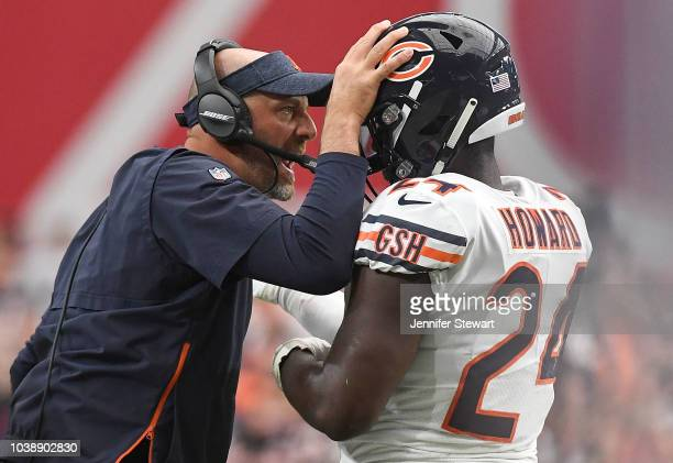Running back Jordan Howard of the Chicago Bears celebrates with head coach Matt Nagy after scoring a one yard touchdown in the second half of the NFL...