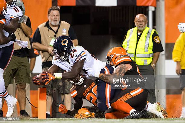 Running back Jordan Howard of the Chicago Bears scores a touchdown during the fourth quarter against the Cleveland Browns at FirstEnergy Stadium...