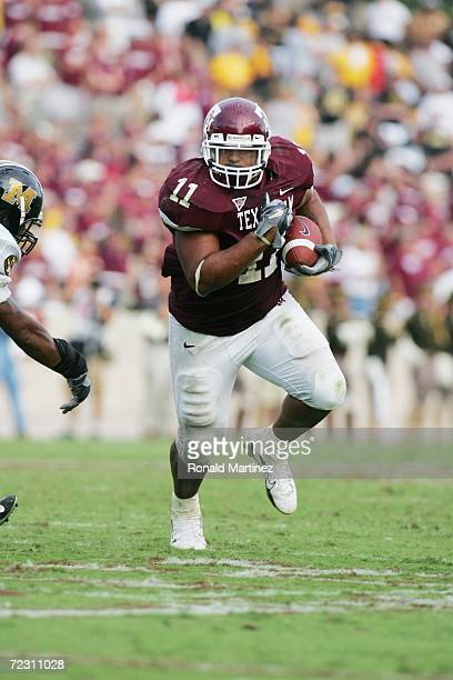Running back Jorvorskie Lane of the Texas AM Aggies carries the ball against the Missouri Tigers at Kyle Field on October 14 2006 in College Station...