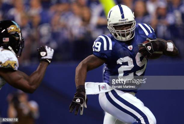 Running back Joseph Addai of the Indianapolis Colts runs the ball against the Jacksonville Jaguars on September 21, 2008 at Lucas Oil Stadium in...