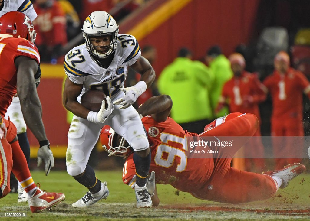 Running back Justin Jackson of the Los Angeles Chargers runs up ... 22cd4fce4
