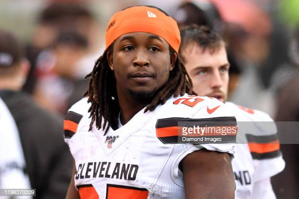 Running back Kareem Hunt of the Cleveland Browns on the sideline in the third quarter of a game against the Cincinnati Bengals on December 29, 2019...
