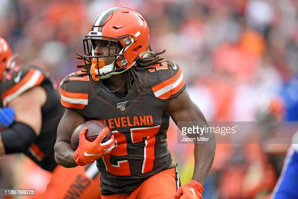 Running back Kareem Hunt of the Cleveland Browns runs for a gain during the first half against the Buffalo Bills at FirstEnergy Stadium on November...