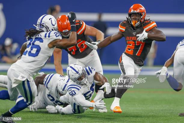 Running back Kareem Hunt of the Cleveland Browns runs the ball during the game against the Indianapolis Colts at Lucas Oil Stadium on August 17, 2019...