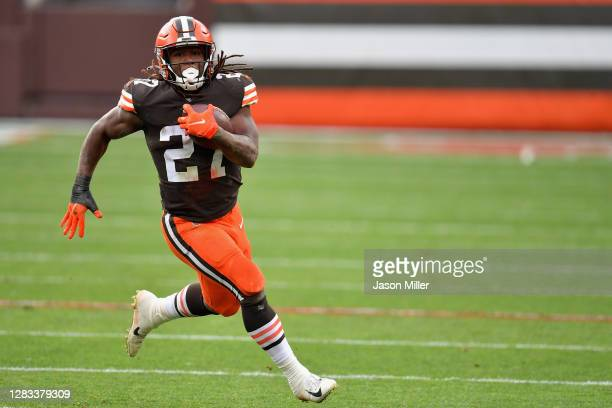 Running back Kareem Hunt of the Cleveland Browns rushes the football against the Las Vegas Raiders during the first half of the NFL game at...