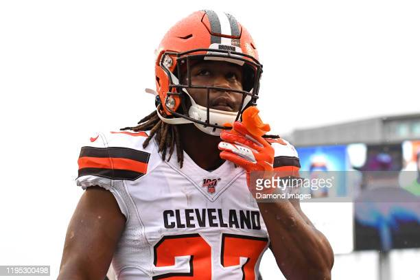 Running back Kareem Hunt of the Cleveland Browns walks off the field prior to a game against the Cincinnati Bengals on December 29, 2019 at Paul...