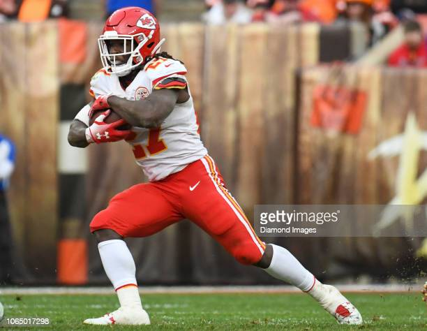 Running back Kareem Hunt of the Kansas City Chiefs carries the ball in the fourth quarter of a game against the Cleveland Browns on November 4 2018...