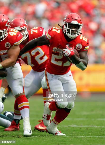Running back Kareem Hunt of the Kansas City Chiefs carries the ball during the game against the Philadelphia Eagles at Arrowhead Stadium on September...