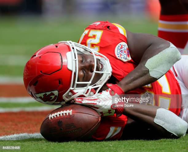Running back Kareem Hunt of the Kansas City Chiefs celebrates after scoring a touchdown during the game against the Philadelphia Eagles at Arrowhead...