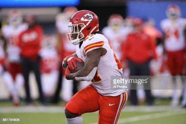 Running Back Kareem Hunt of the Kansas City Chiefs in action against the New York Giants during their game at MetLife Stadium on November 19 2017 in...
