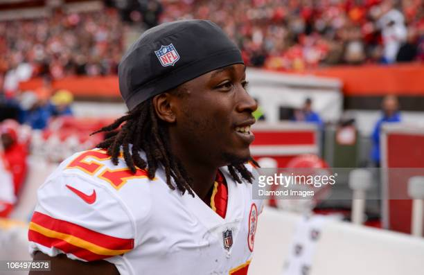 Running back Kareem Hunt of the Kansas City Chiefs on the sideline prior to a game against the Cleveland Browns on November 4 2018 at FirstEnergy...