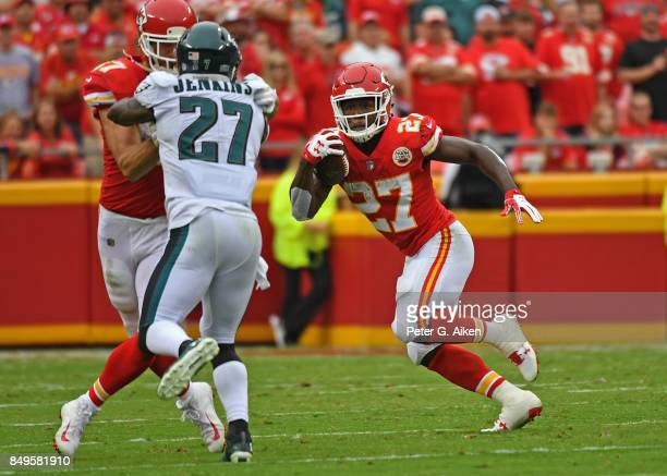 Running back Kareem Hunt of the Kansas City Chiefs runs up field against the Philadelphia Eagles during the first half on September 17 2017 at...