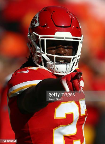 Running back Kareem Hunt of the Kansas City Chiefs warms up prior to the game against the Denver Broncos at Arrowhead Stadium on October 28 2018 in...