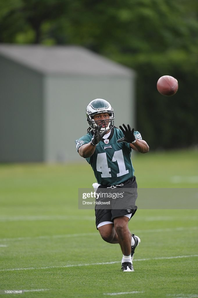 Running back Keithon Flemming #41 of the Philadelphia Eagles catches a pass during practice on May 19, 2010 at the NovaCare Complex in Philadelphia, Pennsylvania.