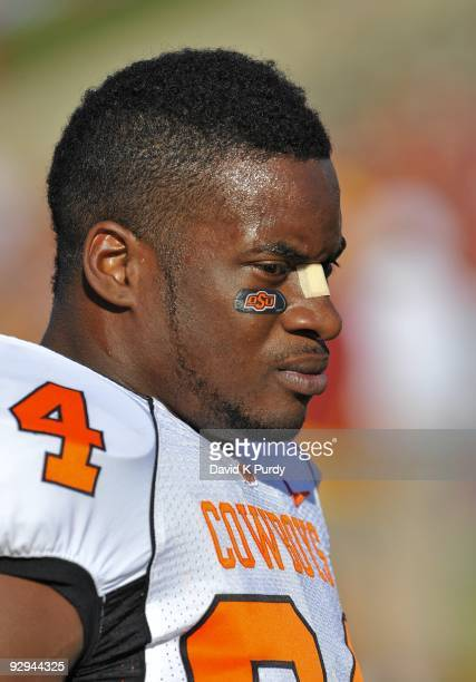 Running back Kendall Hunter of the Oklahoma State Cowboys looks on during the game against the Iowa State Cyclones at Jack Trice Stadium on November...