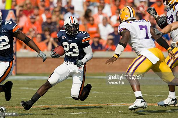 Running back Kenny Irons of the Auburn Tigers during a game against the LSU Tigers on September 16 2006 at JordanHare Stadium in Auburn Alabama The...