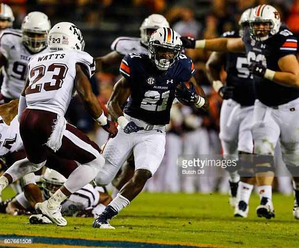 Running back Kerryon Johnson of the Auburn Tigers carries the ball against the Texas AM Aggies during an NCAA college football game on September 17...