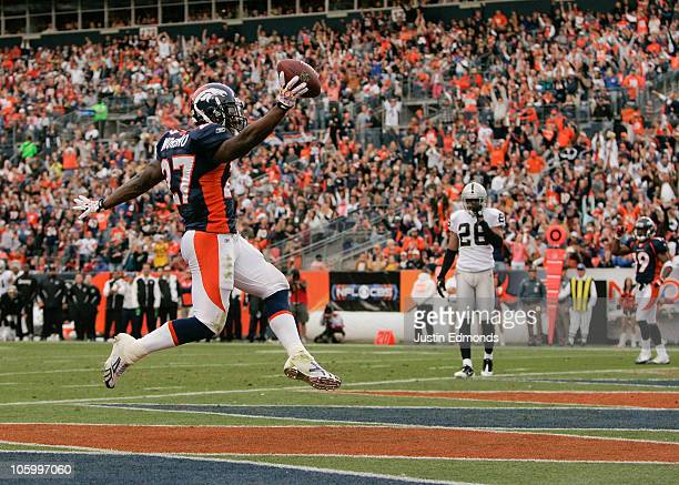 Running back Knowshon Moreno of the Denver Broncos celebrates his touchdown run in the second quarter against the Oakland Raiders at INVESCO Field at...