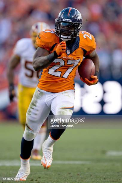 Running back Knowshon Moreno of the Denver Broncos in action against the Washington Redskins at Sports Authority Field Field at Mile High on October...