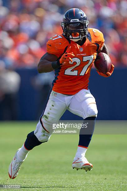 Running back Knowshon Moreno of the Denver Broncos in action during a preseason game against the San Francisco 49ers at Sports Authority Field Field...