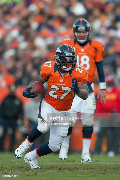 Running back Knowshon Moreno of the Denver Broncos rushes during a game against the Kansas City Chiefs at Sports Authority Field at Mile High on...