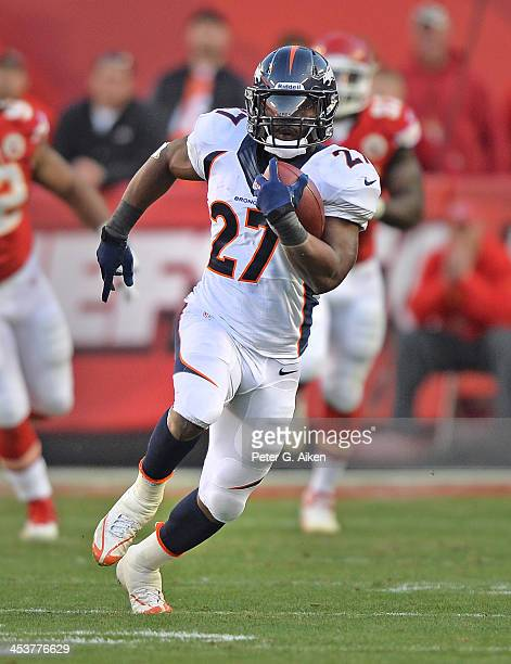 Running back Knowshon Moreno of the Denver Broncos rushes up field against the Kansas City Chiefs during the first half on December 1 2013 at...