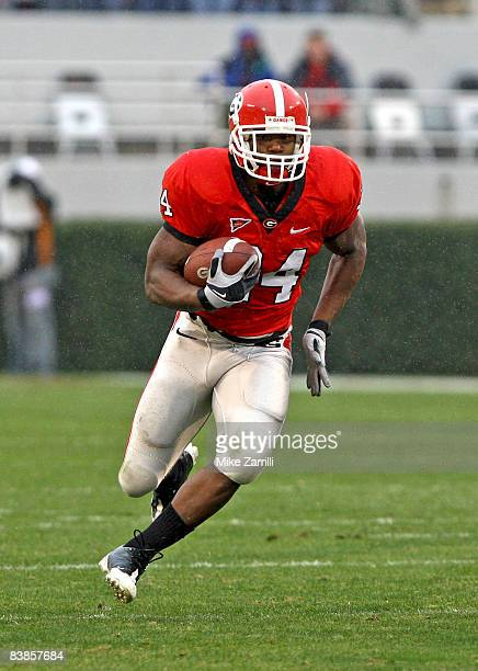 Running back Knowshon Moreno of the Georgia Bulldogs ran for 97 yards and a touchdown during the game against the Georgia Tech Yellow Jackets at...
