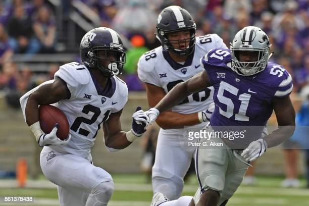 Running back Kyle Hicks of the TCU Horned Frogs runs up field against the Kansas State Wildcats during the first half on October 14 2017 at Bill...