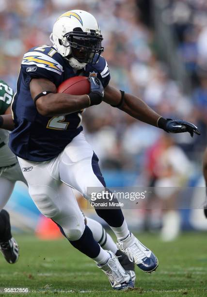 Running back LaDainian Tomlinson of the San Diego Chargers runs with the ball against the New York Jets during the AFC Divisional Playoff Game at...