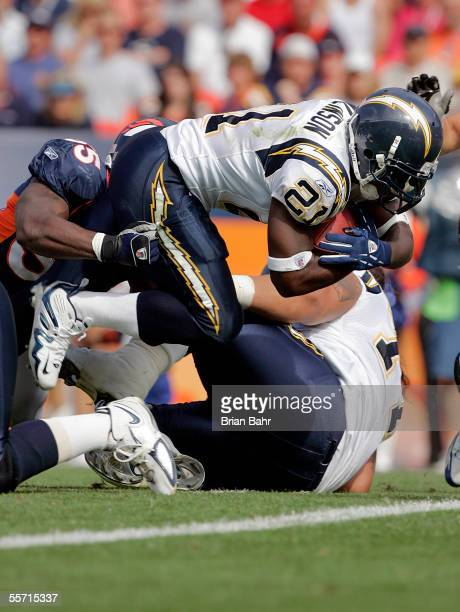 Running back LaDainian Tomlinson of the San Diego Chargers scores his second touchdown against the Denver Broncos in the second quarter on September...