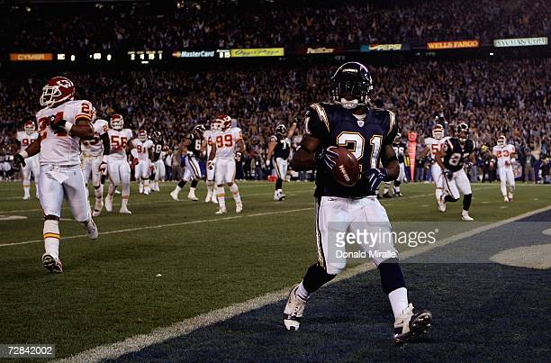 Running back LaDainian Tomlinson of the San Diego Chargers scores his first of two first half touchdowns against the Kansas City Chiefs during their...