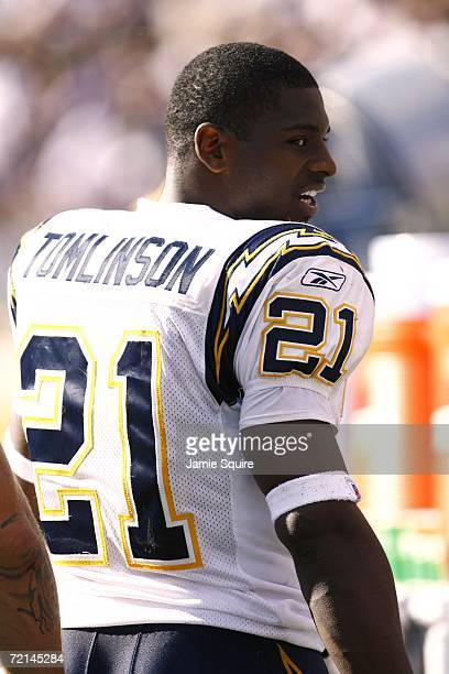 Running back LaDainian Tomlinson of the San Diego Chargers watches the game against the Baltimore Ravens on October 1, 2006 at M&T Bank Stadium in...