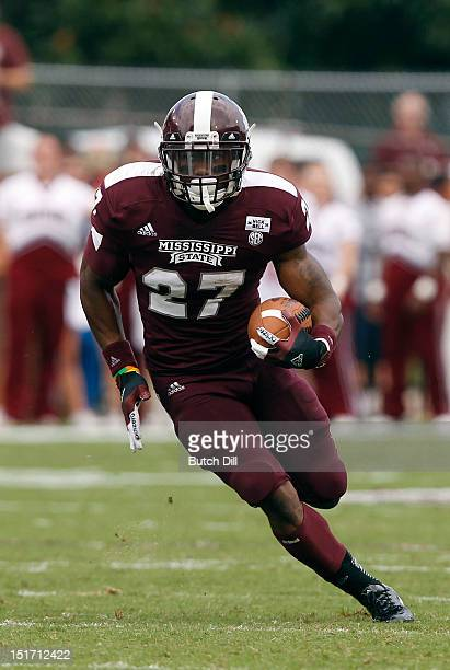 Running back LaDarius Perkins of the Mississippi State Bulldogs in the first quarter of a NCAA college football game against the Auburn Tigers on...