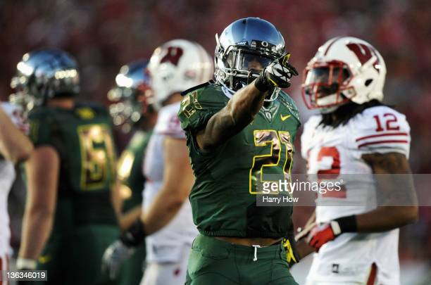 Running back LaMichael James of the Oregon Ducks reacts in the second half against the Wisconsin Badgers at the 98th Rose Bowl Game on January 2 2012...