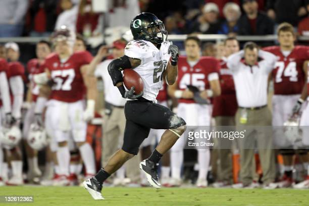 Running back LaMichael James of the Oregon Ducks runs for a 58yard touchdown run in the second quarter against the Stanford Cardinal at Stanford...