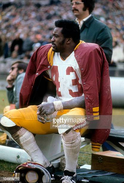Running back Larry Brown of the Washington Redskins watching the action from the bench against the New York Jets during an NFL game November 51972 at...