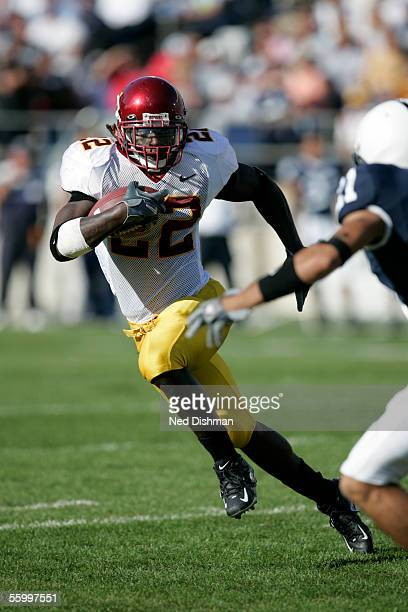 Running back Laurence Maroney of the Minnesota Gophers runs with the ball during a game against The Penn State Nittany Lions on October 1 2005 at...