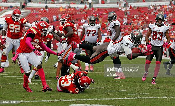 Running back LeGarrette Blount of the Tampa Bay Buccaneers dives in for the final score of the game against the Kansas City Chiefs at Raymond James...