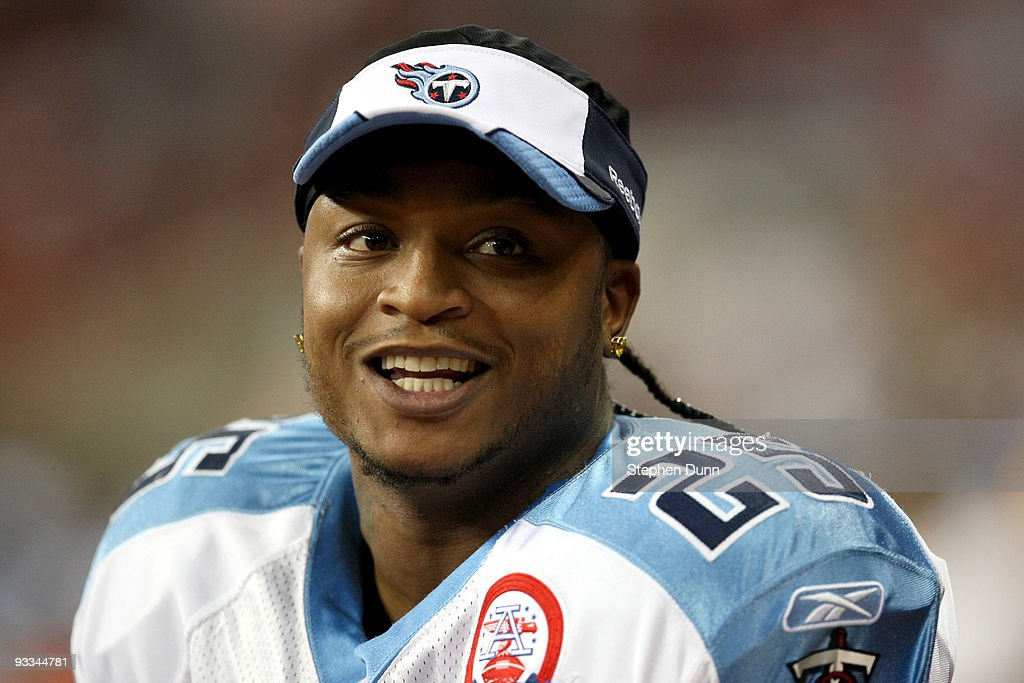 Running back LenDale White #25 of the Tennessee Titans smiles during the game with the Houston Texans on November 23, 2009 at Reliant Stadium in Houston, Texas.