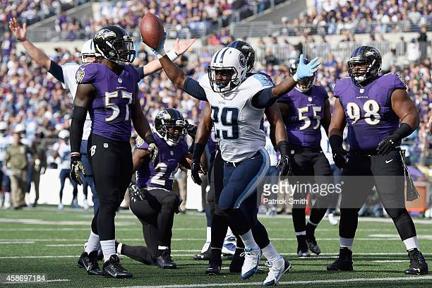 Running back Leon Washington of the Tennessee Titans celebrates after scoring a first quarter touchdown against the Baltimore Ravens at M&T Bank...