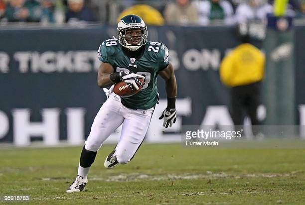 Running back LeSean McCoy of the Philadelphia Eagles carries the ball during a game against the Denver Broncos on December 27 2009 at Lincoln...